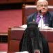 Bloody Pauline mocks burqa in Parliament